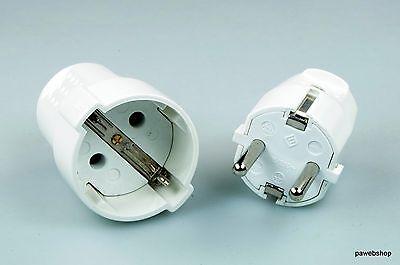 5 Set Schukostecker und Kupplung 230V /16A max.  IP 20 PVC-Gehäuse weiss