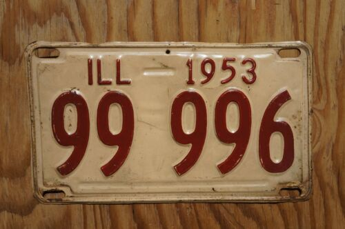1953 Illinois License Plate # 99 996