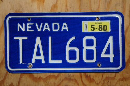 1980 Nevada Passenger License Plate - Nice Original