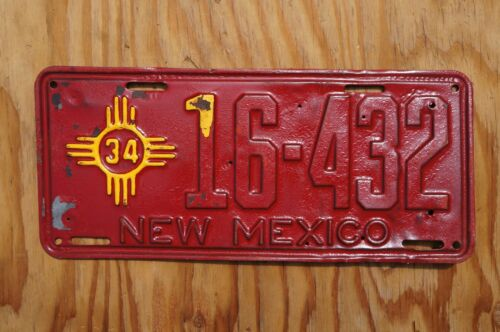 1934 New Mexico License Plate # 16-432