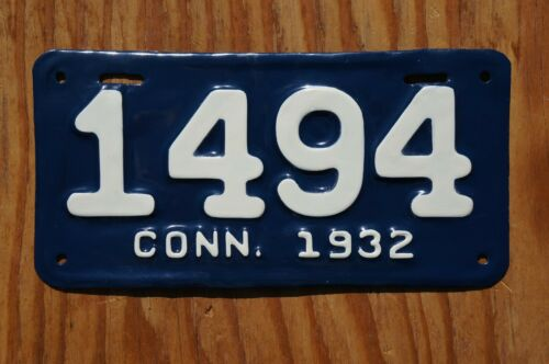 1932 Connecticut MOTORCYCLE License Plate  # 1494