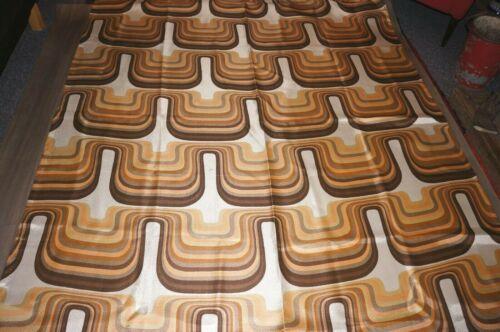 Vintage 60s 70s dramatic Op Art fabric length curtain cream browns orange beige