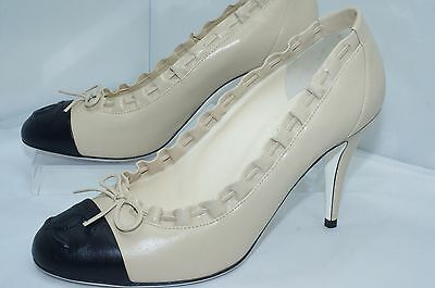 New Chanel Shoes Beige Pumps Escarpins Size 38 Classics Heels Logo