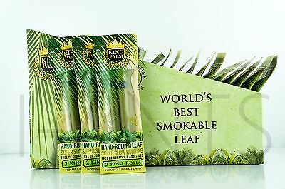 6X King Palm King Size 100  Tobacco Fee Natural Leaf Rolls With Corn Husk Filter