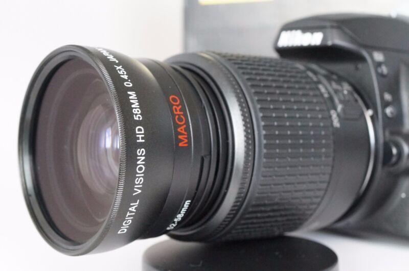 Macro Wide Angle Semi Fisheye Lens for Nikon Digital dslr d5100 d3100 d50 52mm