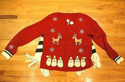 Vintage Ugly Tacky Christmas zipper Sweater Cape Scarf Rudolph XL Womens Awesome
