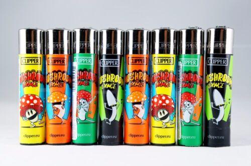 8 pcs New Refillable Clipper Lighters Mushrooms Design