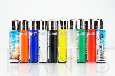 10 pcs Refillable Full Size Clipper Lighters 8 pcs Solid Colors & 2 pcs Element
