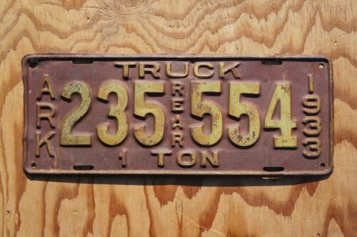1933 Arkansas 1 Ton Truck License Plate