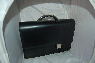 Rare Vintage Aaron Irvin Black Leather Flap-Over Briefcase w Chrome Handle MINT! Leather Flap Over Briefcase