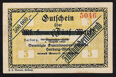 Harburg -Harburger Gummiwaren-Fabrik- 500.000 Mark Aufdruckschein vom 1.08.1923