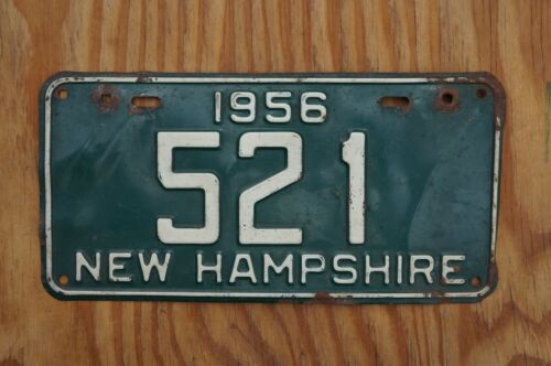 1956 New Hampshire License Plate Low # 521