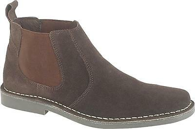 Roamers Mens Twin Gusset Suede Leather Chelsea Dealer Low Ankle Boots Brown  New