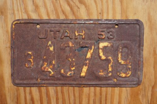 1953 Utah Truck License Plate