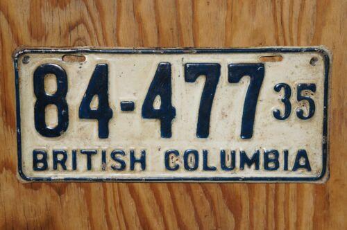 1935 BRITISH COLUMBIA Canada License Plate