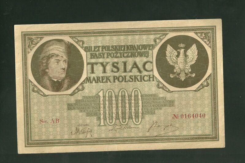 1919 Poland 1000 Marek Currency Note Pick #22B Paper Money Tysiac Marek Polskich