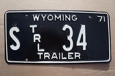 1971 Wyoming STATE TRAILER License Plate # 34