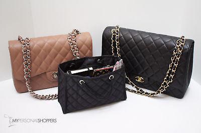 ZOE Quilted Small Black Handbag Organizer Insert w Base Fits Ur CHANEL Bag