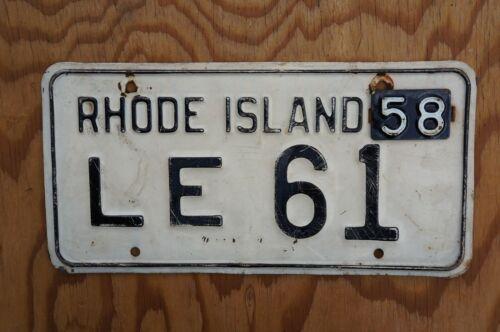 1958 Rhode Island License Plate # LE 61