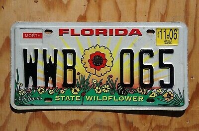 2006 Florida State WILDFLOWER License Plate - Florida State Wildflower