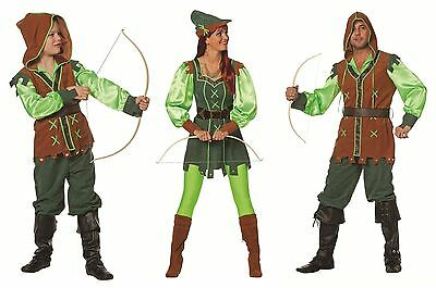 Robin Hood Peter Pan Jäger Girl Kostüm Kleid Mittelalter Hippie Disco Bogen Set ()