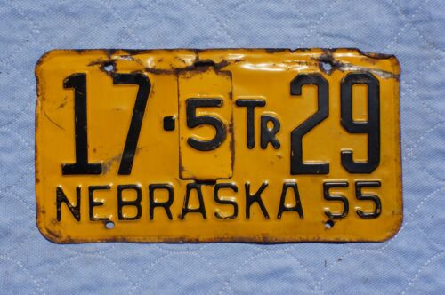1955 Nebraska License Plate With Tab
