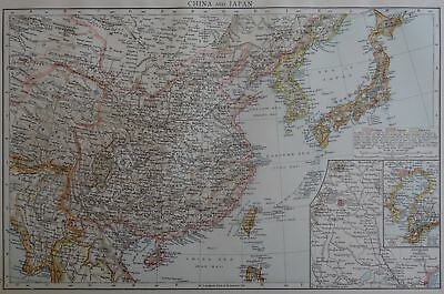 Victorian Map 1896 of CHINA & JAPAN The Times Atlas 1st Gen