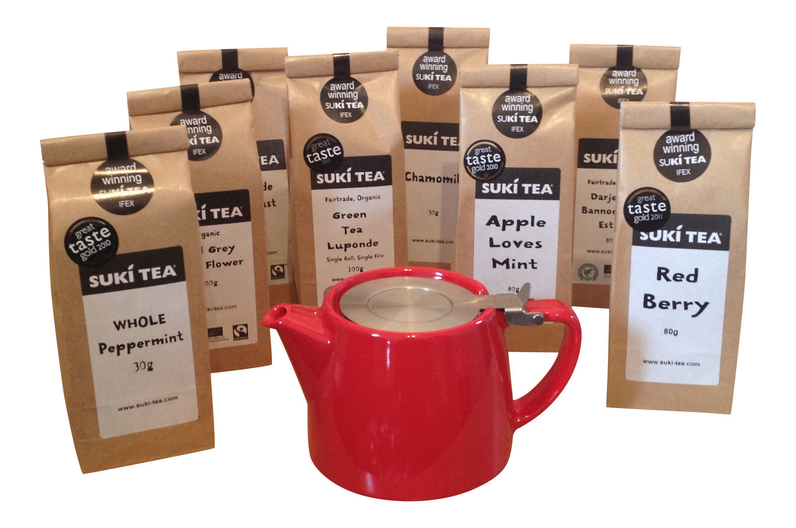RED 18oz  FORLIFE LOOSE LEAF TEAPOT & PACK OF SUKI TEA -CHOI