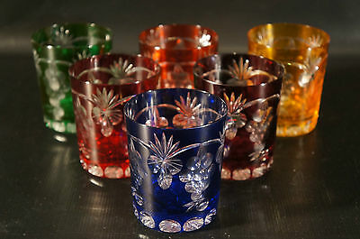 Set of 6 Crystal Cut To Clear Czech Bohemian Whiskey Glasses Tumbler.
