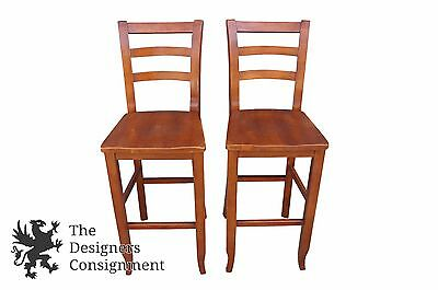 2 Traditional Bar Height Ladder Back Stools Ash Wood 46