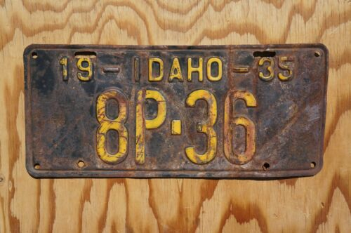 1935 Idaho Passenger License Plate  # 8P - 36