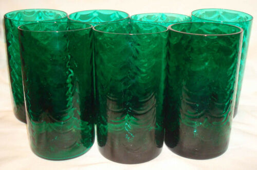"""7 Vintage Emerald Green Glass Drapery 5 ¾"""" Colorful Large Water Tumblers Set"""