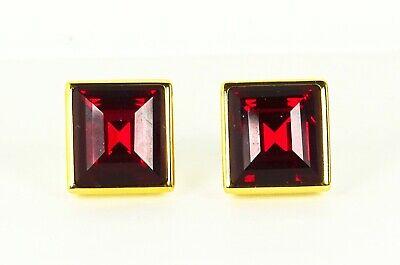 MICHAEL KORS Gold Plated Garnet Color Crystal Stud Earrings