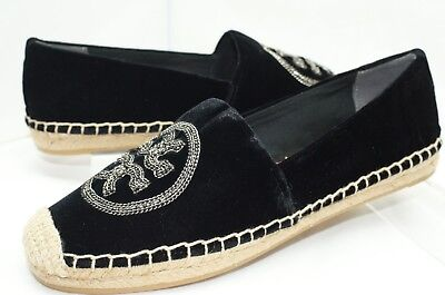 New Tory Burch Logo Chain Espadrille Shoes Ballet Flats Size 7.5 Black (Tory Burch Flat Sale)