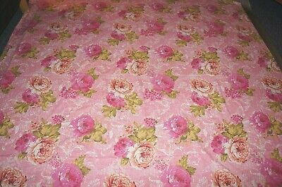 Vintage style pink cabbage flower floral large length fabric 82