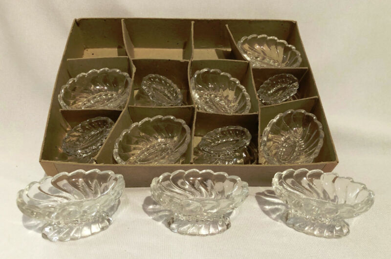 FOSTORIA GLASS COLONY FOOTED NUT CUPS OR ALMONDS - SET OF 12 ORIGINAL BOX 915S
