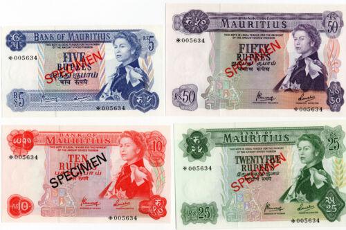 Bank of Mauritius 1967 Specimen Set of 4 Notes 5 10 25 50 Rupees GEM UNC
