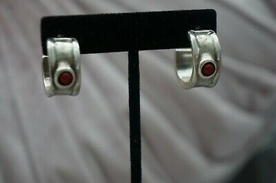 NEW Uno de 50 Silver Red Murano Glass FORTIFIED Hoop Statement Earrings $125