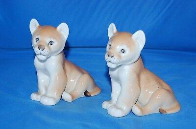 2 Lomonosov seated lion cubs from the USSR era