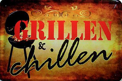 Grillen & Chillen Blechschild Metallschild Schild gewölbt Tin Sign 20 x 30 cm