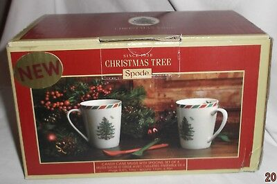 SPODE CHRISTMAS TREE CANDY CANE MUG WITH SPOON / 2 MUGS & 2 SPOONS NIB - Candy Cane Spoons