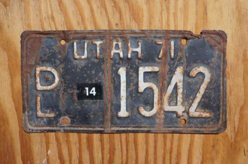 1971 Embossed Dated Utah DEALER License Plate # 1542