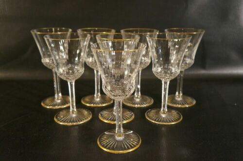 Set of 8 France Crystal St Louis Apollo Wine Glasses  With Gold.
