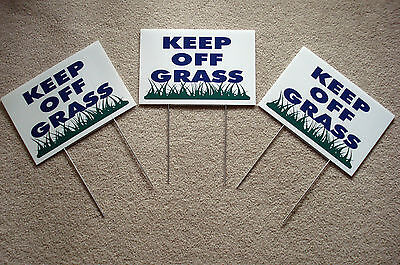 3 Keep Off Grass 8x12 Plastic Coroplast Signs With Stakes New