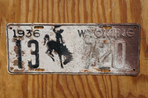 1936 Converse County Wyoming 1st Year Rodeo Cowboy Horse License Plate # 13- 720