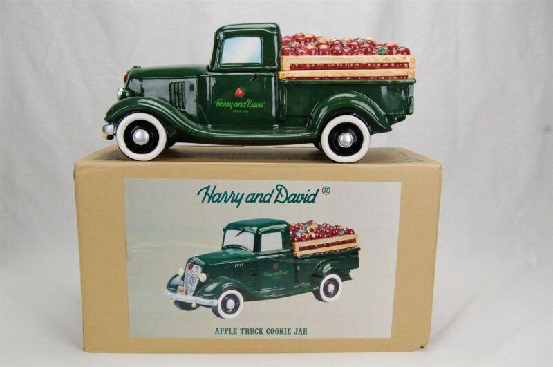 Harry & David Apple Truck Cookie Jar Green Pickup