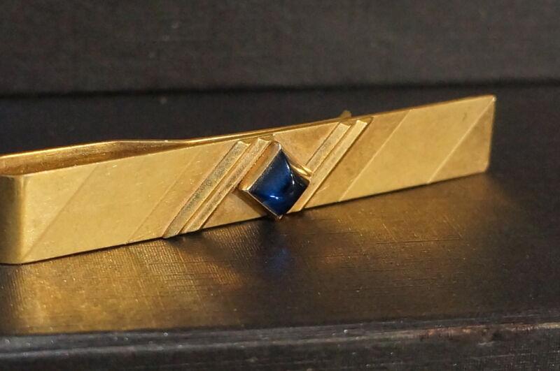 Tie Clip Vintage Art Deco Blue Cobalt Gold Tone  Money Clip Tie Bar