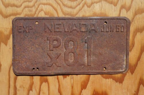 1960 Nevada License Plate Low # 81