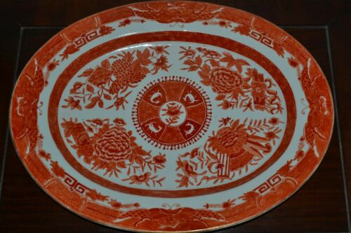 Large Old Chinese Orange Fitzhugh Porcelain Platter 16-3/4 x 12-7/8 Inches