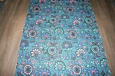 Vintage 50s 60s stylised flower print blue black pink etc cotton length fabric